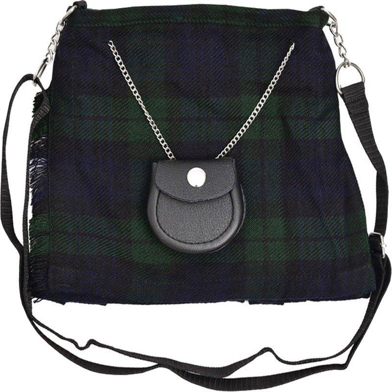 Scottish Black Watch Tartan Ladies Kilt Shaped Bag, Traditional Clothing Hand Purse