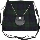 Scottish Black Watch Tartan Ladies Kilt Shaped Bag, Traditional Clothing Hand Purse