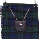 Scottish Black Watch Tartan Ladies Kilt Shaped Purse, Traditional Clothing Hand Bag