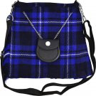 Scottish Blue Tartan Ladies Kilt Shaped Purse, Traditional Clothing Hand Bag