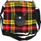 Scottish Buchanan Tartan Ladies Kilt Shaped Purse, Traditional Clothing Hand Bag