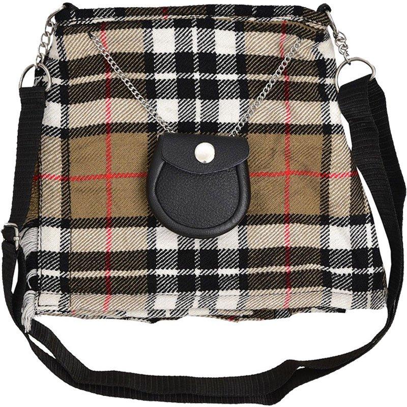 Scottish Camel Thompson Tartan Ladies Kilt Shaped Purse, Traditional Clothing Hand Bag