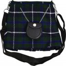 Scottish Douglas Blue Tartan Ladies Kilt Shaped Purse, Traditional Clothing Hand Bag