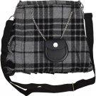 Scottish Grey Watch Tartan Ladies Kilt Shaped Purse, Traditional Clothing Hand Bag
