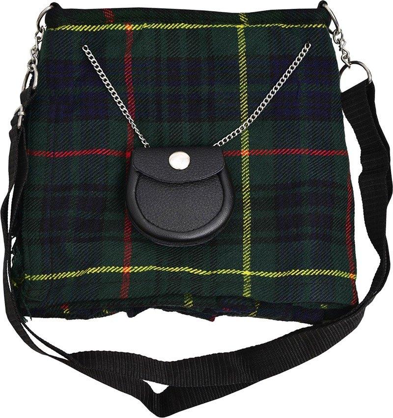 Scottish Hunting Stewart Tartan Ladies Kilt Shaped Purse, Traditional Clothing Hand Bag