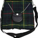Scottish Hunting Stewart Tartan Ladies Kilt Shaped Purse, Traditional Clothing Hand Bag