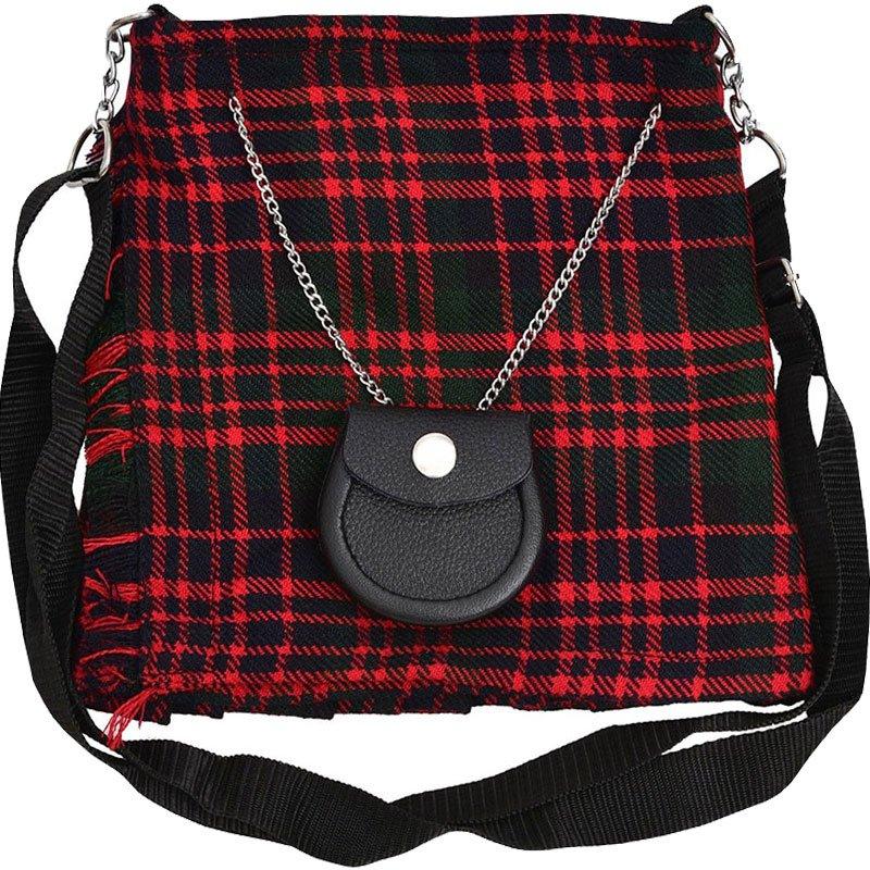 Scottish McDonald Tartan Ladies Kilt Shaped Purse, Traditional Clothing Hand Bag