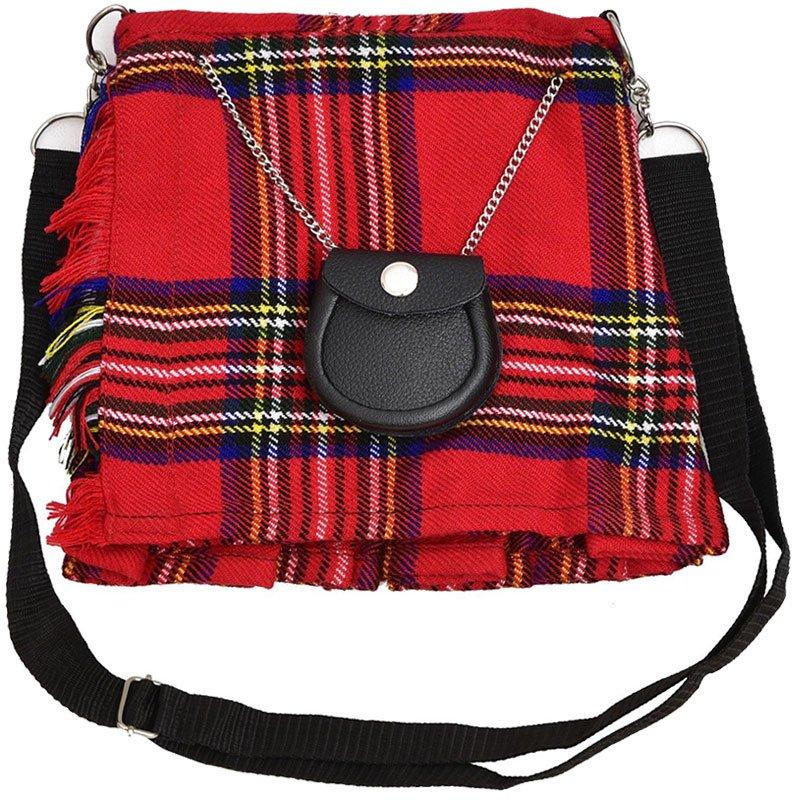 Scottish Royal Stewart Tartan Ladies Kilt Shaped Purse, Traditional Clothing Hand Bag