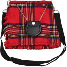 Scottish Royal Stewart Tartan Ladies Kilt Shaped Purse, Traditional Clothing Hand Bag