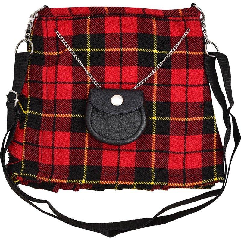 Scottish Wallace Tartan Ladies Kilt Shaped Purse, Traditional Clothing Hand Bag