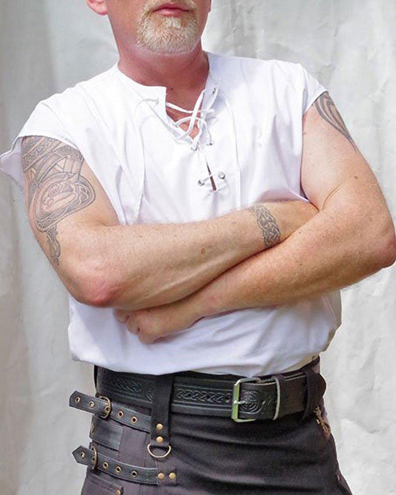 Large Size Sleeveless White Jacobean Jacobite Ghillie Kilt Shirt for Men with Expedite Shipping