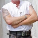 4XL Size Sleeveless White Jacobean Jacobite Ghillie Kilt Shirt for Men with Expedite Shipping