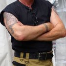 Large Size Sleeveless Black Jacobean Jacobite Ghillie Kilt Shirt for Men with Expedite Shipping