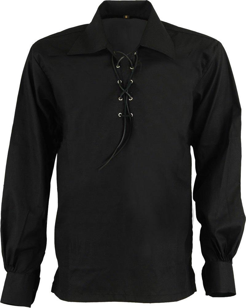 High Quality Jacobite Ghillie Kilt Shirt Black Cotton Jacobean X Large Size Shirt With Leather Cord