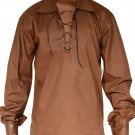 High Quality Jacobite Ghillie Kilt Shirt Brown Cotton Jacobean Large Size Shirt With Leather Cord
