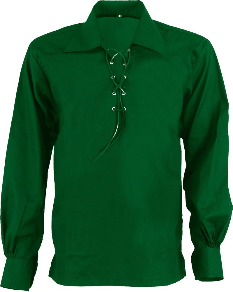 High Quality Jacobite Ghillie Kilt Shirt Green Cotton Jacobean X Large Size Shirt With Leather Cord