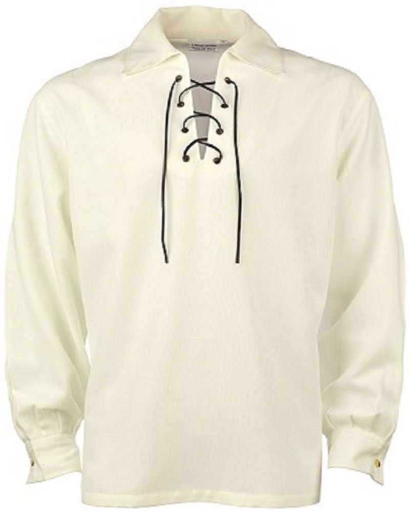 High Quality Jacobite Ghillie Kilt Shirt Off White Cotton Jacobean 4X Large Shirt With Leather Cord