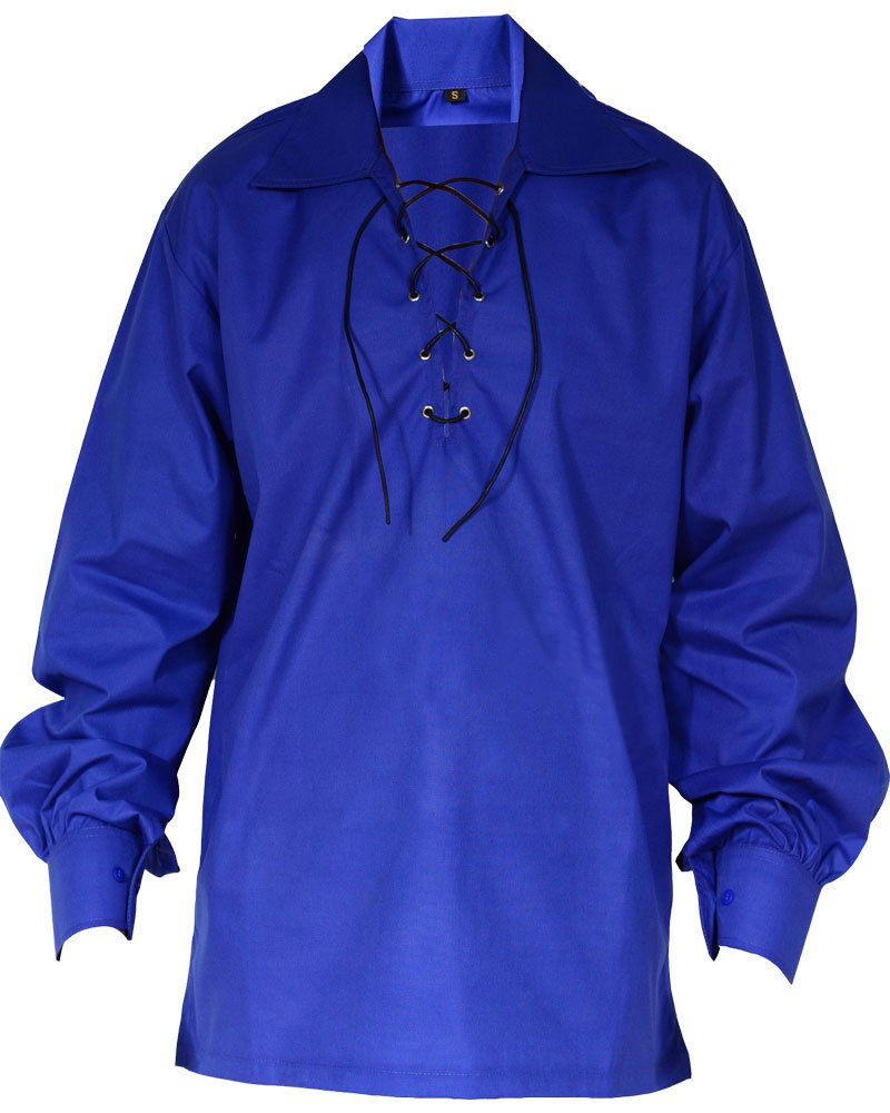 High Quality Jacobite Ghillie Kilt Shirt Royal Blue Cotton Jacobean Medium Shirt With Leather Cord
