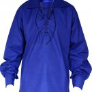 High Quality Jacobite Ghillie Kilt Shirt Royal Blue Cotton Jacobean Large Shirt With Leather Cord