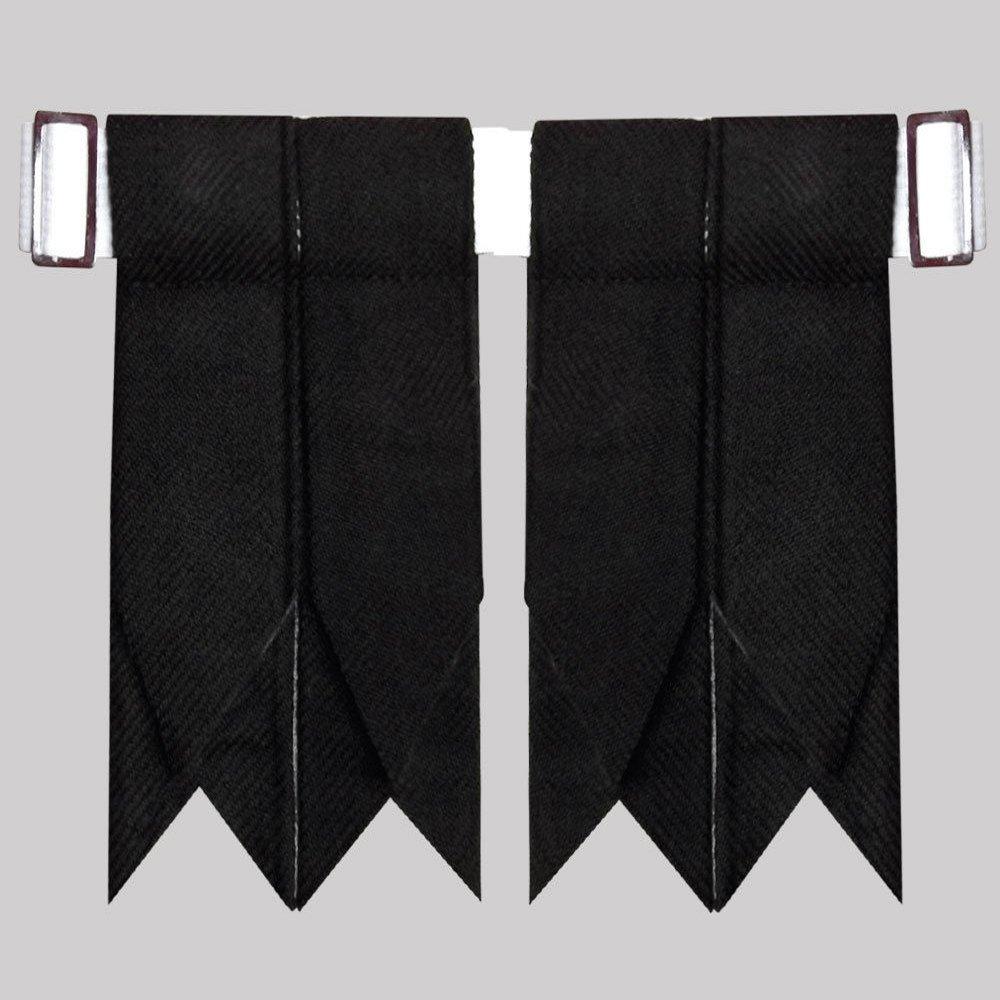 New Black Tartan kilt Hose Flashes Garters with Buckle Scottish Kilt Hose Flashes