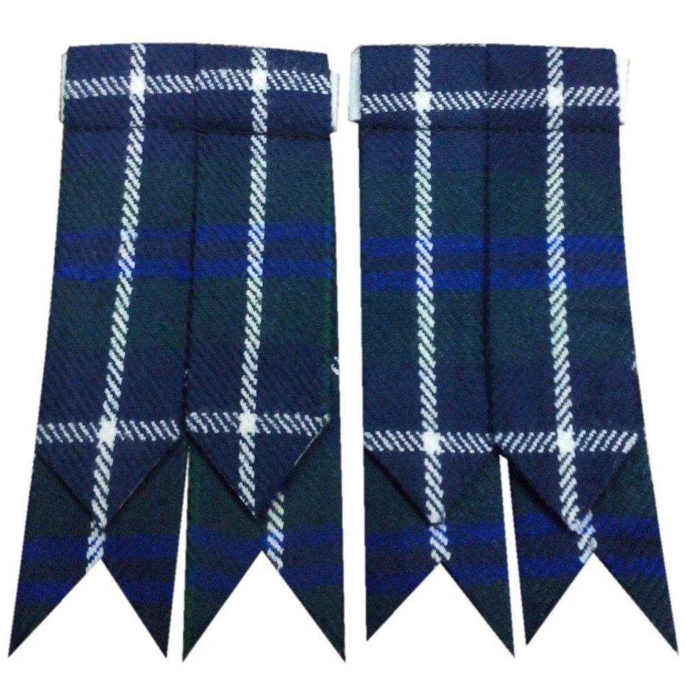 Men�s Blue Douglas Scottish Kilt Hose Sock Flashes Garters Traditional Tartan Flashes