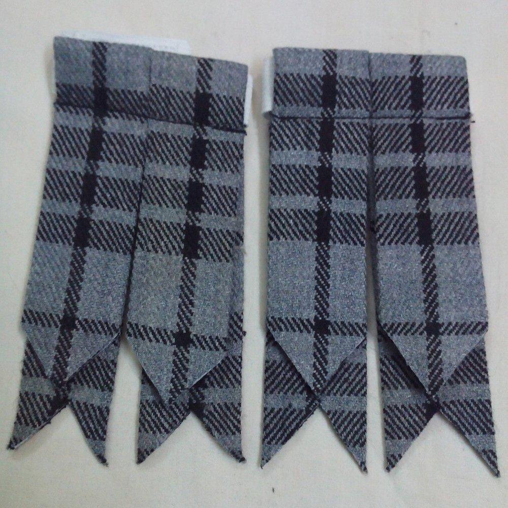 New Gray Watch Tartan Kilt Flashes Garters with Buckle Scottish Kilt Hose Flashes