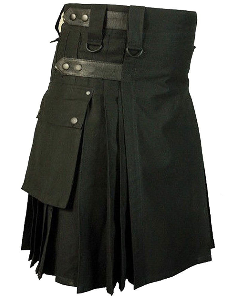 Black Cotton Utility Modern Kilt With Adjustable Leather Straps 44 Waist Size