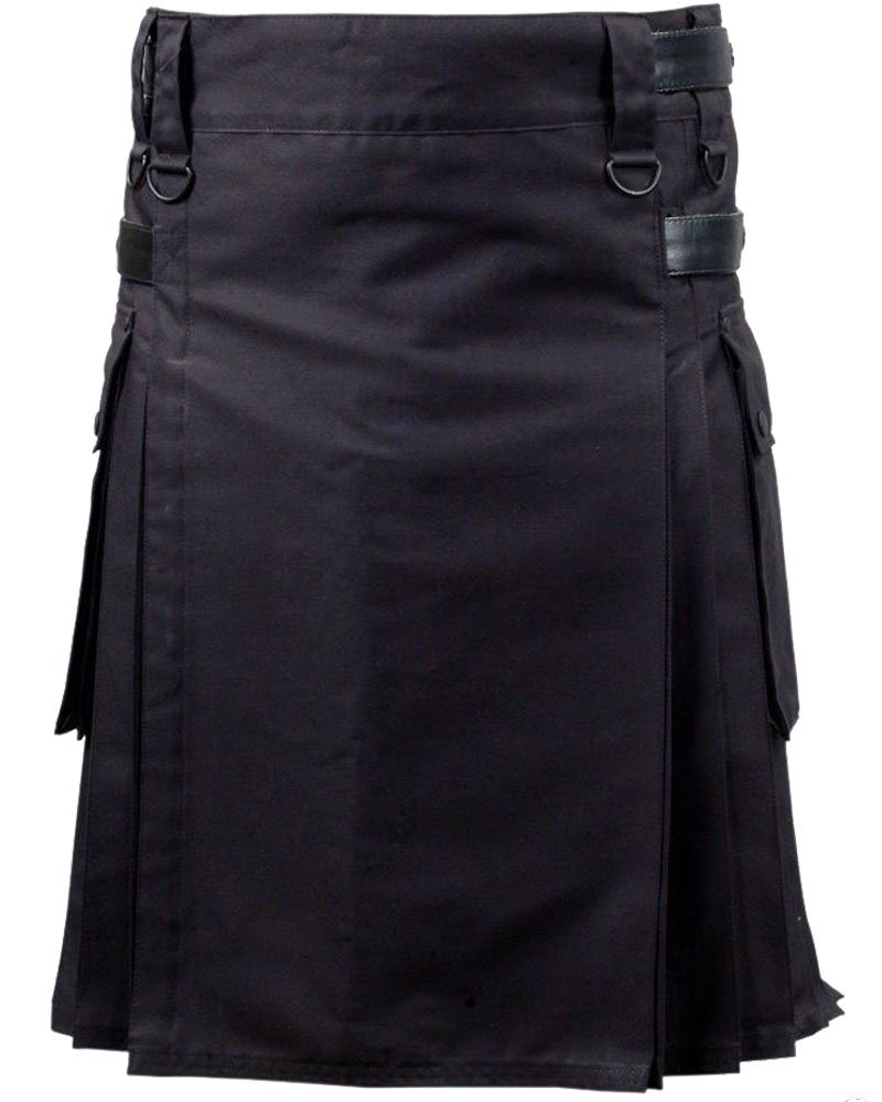 Active Men Black Utility Cotton Kilt With Adjustable Leather Straps 40 Waist Size