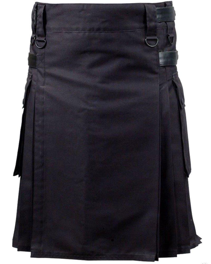 Active Men Black Utility Cotton Kilt With Adjustable Leather Straps 46 Waist Size