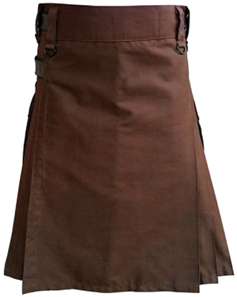 Men Brown Cotton Utility Fashion Kilt With Adjustable Leather Straps 50 Waist Size