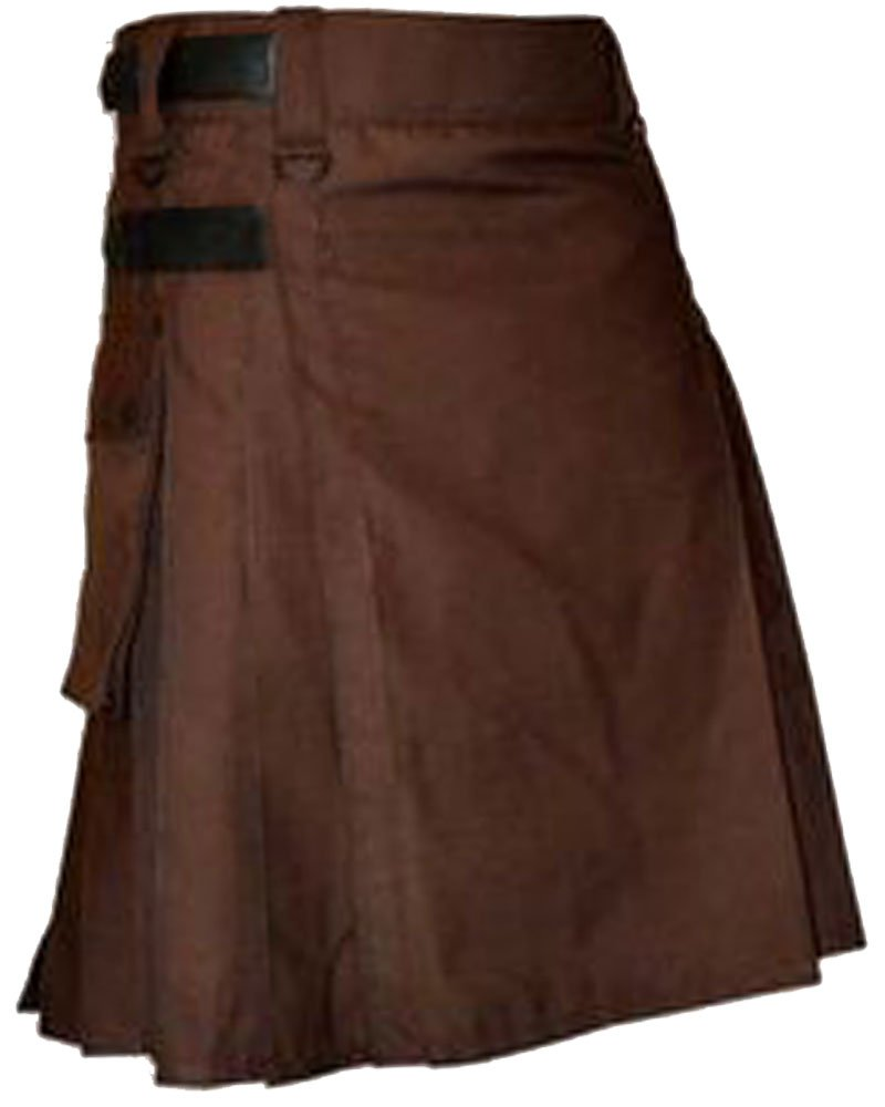 32 Waist Size Chocolate Brown Leather Strap Utility Cotton Kilt for Active Man