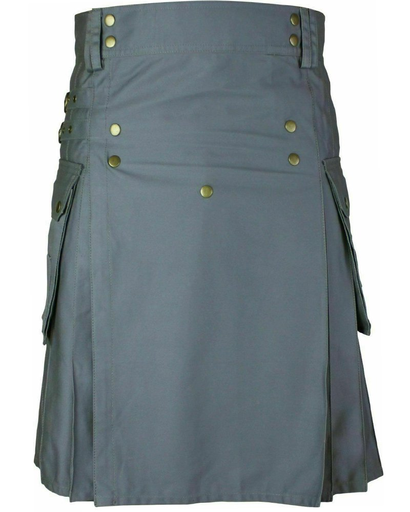 Men's Stylish Wedding Grey Utility Kilt - Utility Kilts with Front Buttons 28 Waist Size