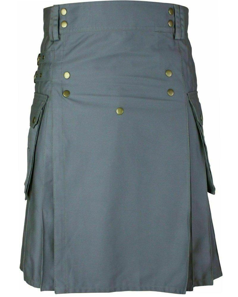 Men's Stylish Wedding Grey Utility Kilt - Utility Kilts with Front Buttons 34 Waist Size