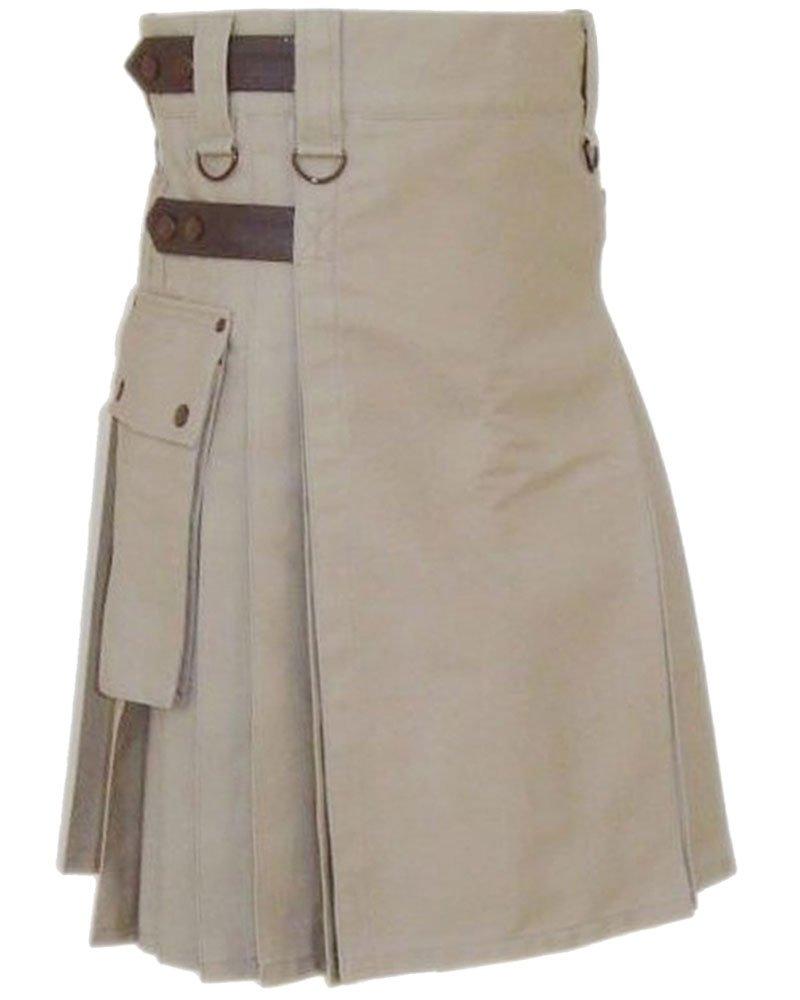Premium quality 44 Waist Size Men�s Khaki Utility Kilt with Real Adjustable Leather Straps