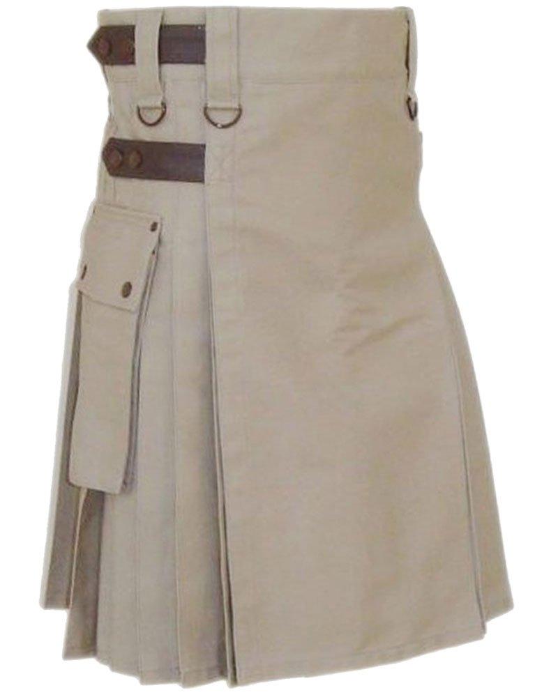 Premium quality 50 Waist Size Men�s Khaki Utility Kilt with Real Adjustable Leather Straps