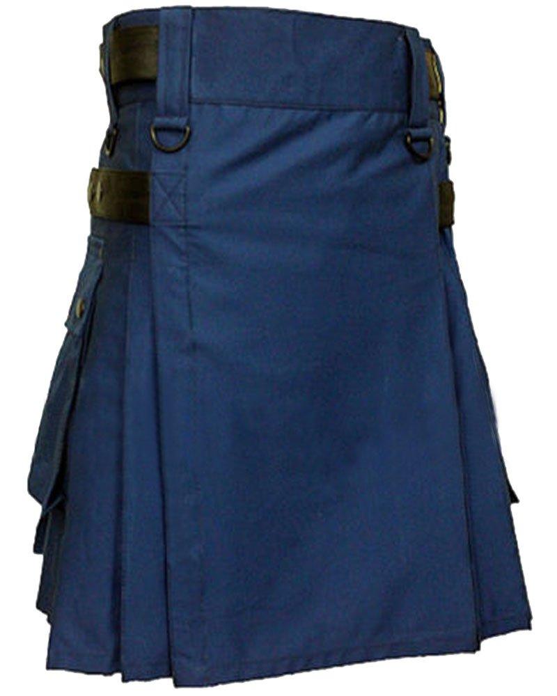 High Quality 44 Waist Size Navy Blue Men's Cotton Utility Kilt with Adjustable Leather Straps