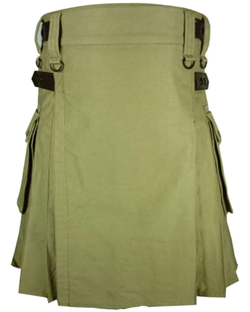 Scottish Men 50 Waist Size Modern Utility Kilt in Olive Green Cotton with Adjustable Leather Straps