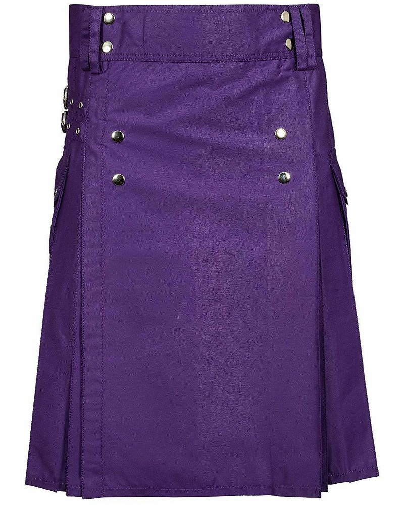 Premium Quality 32 Waist Size Men's Purple Utility / Wedding Kilt 100% Cotton with Brass Button