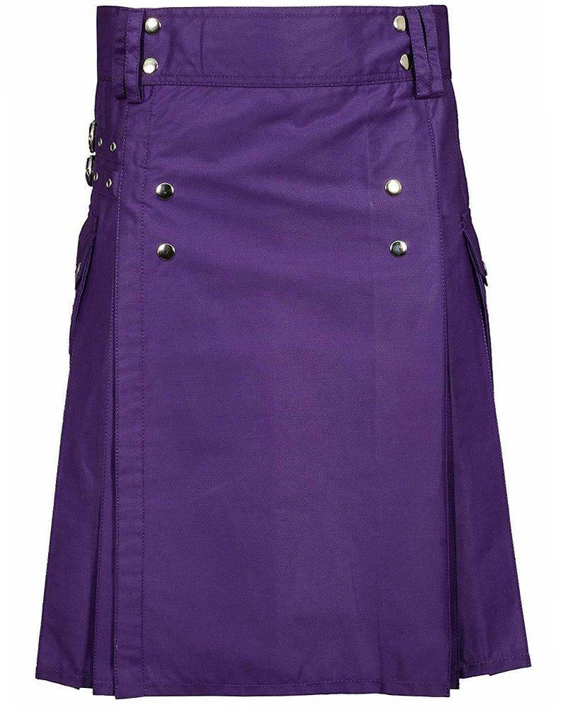 Premium Quality 56 Waist Size Men's Purple Utility / Wedding Kilt 100% Cotton with Brass Button