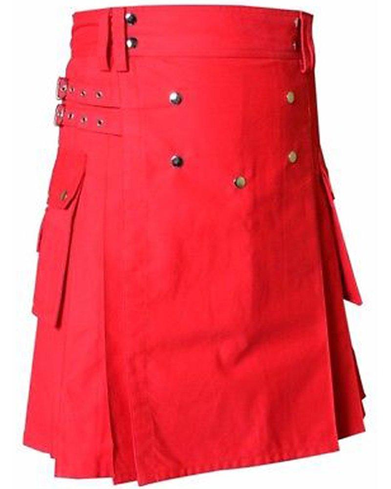 New Scottish Men 48 Waist Size Red Utility / Wedding Kilt 100% Cotton with Brass Button
