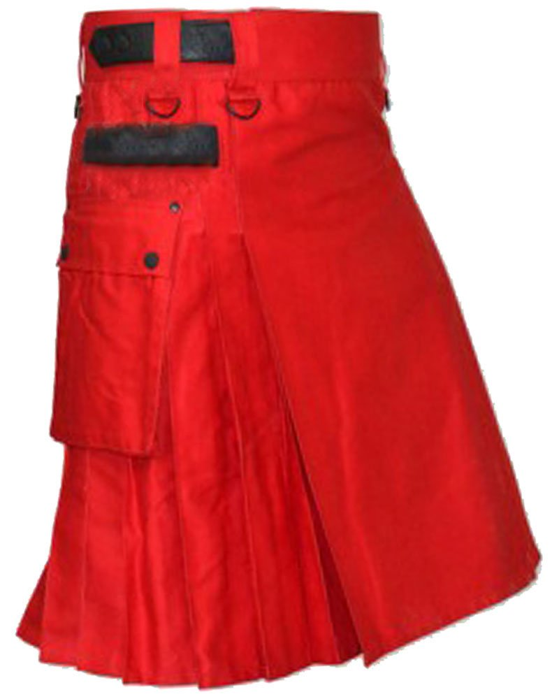 52 Waist Size Handmade Red Cotton Men's Utility Kilt with Adjustable Leather Straps
