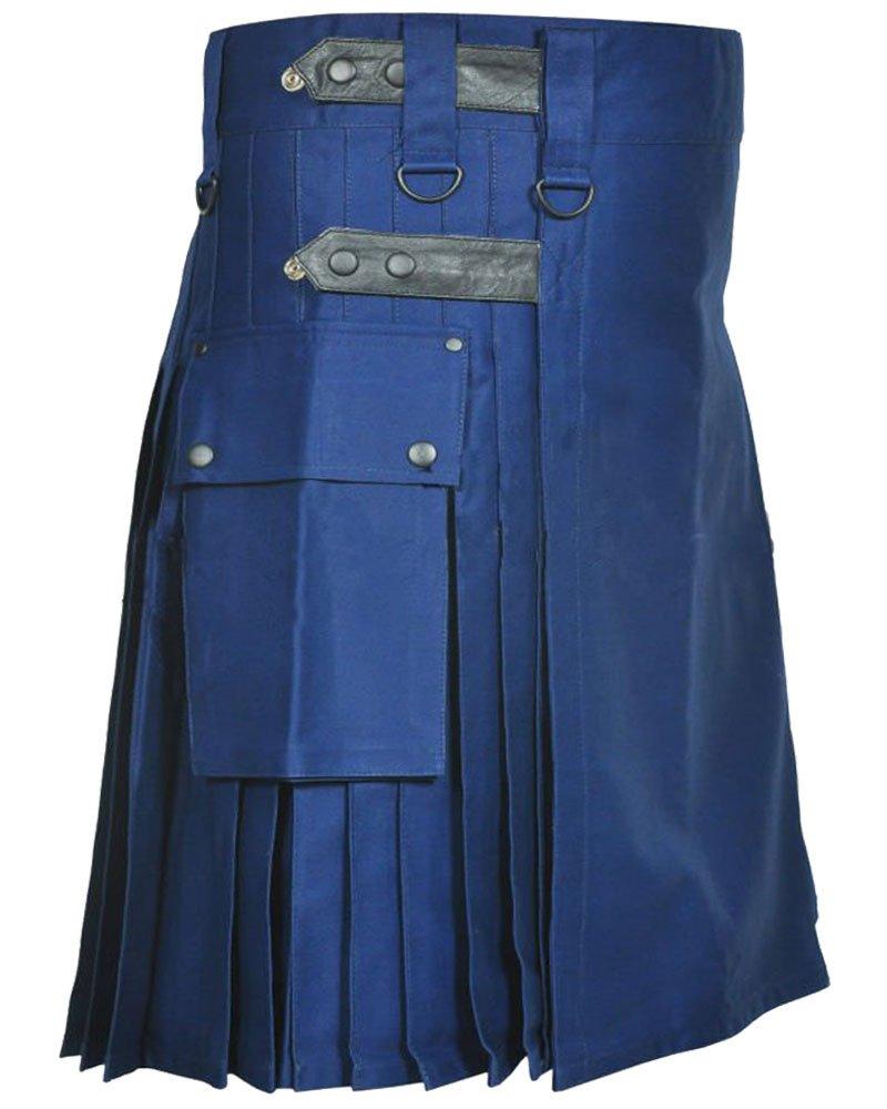 Economy Modern Utility Kilt Adjustable Waist Size 34 Tactical Navy-Blue TDK Kilt with Cargo Pockets
