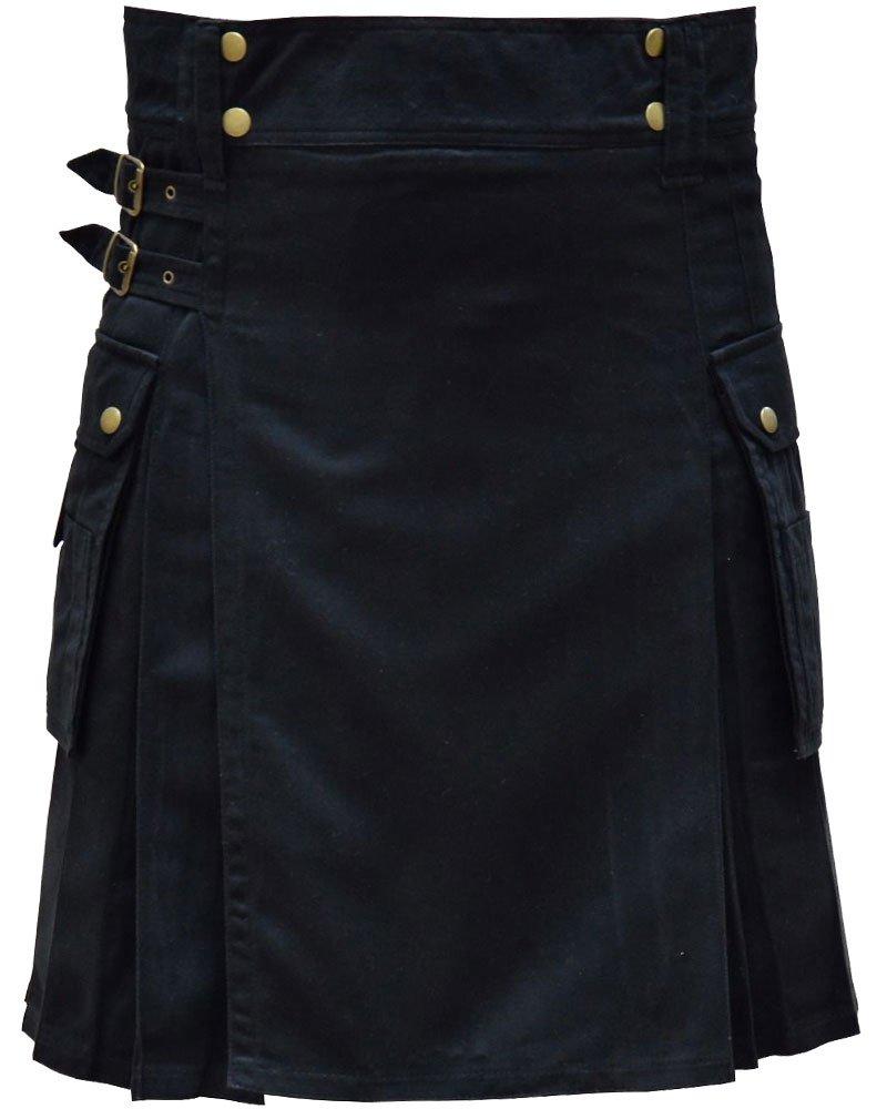 Highland Active Men Utility Sports Black Cotton Kilt with Adjustable 32 Waist Size