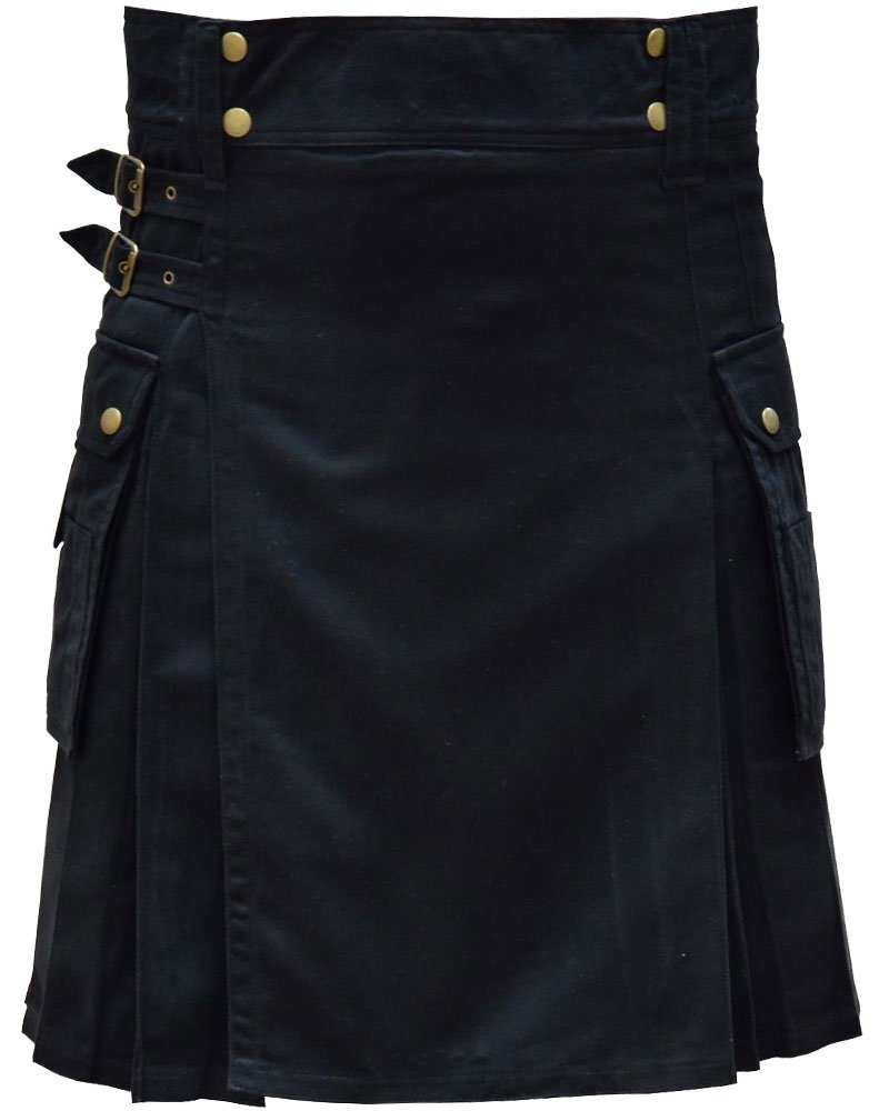Highland Active Men Utility Sports Black Cotton Kilt with Adjustable 52 Waist Size