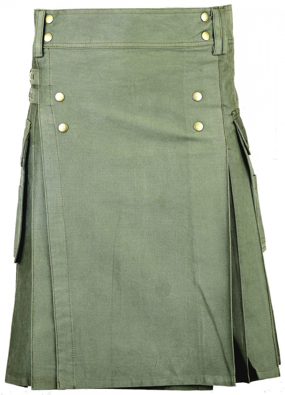 Modern 30 Size Handmade Olive-Green Cotton Kilt Unisex Utility Kilt with Brass Material