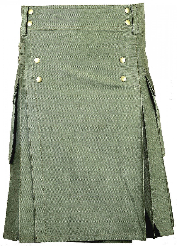 Modern 48 Size Handmade Olive-Green Cotton Kilt Unisex Utility Kilt with Brass Material