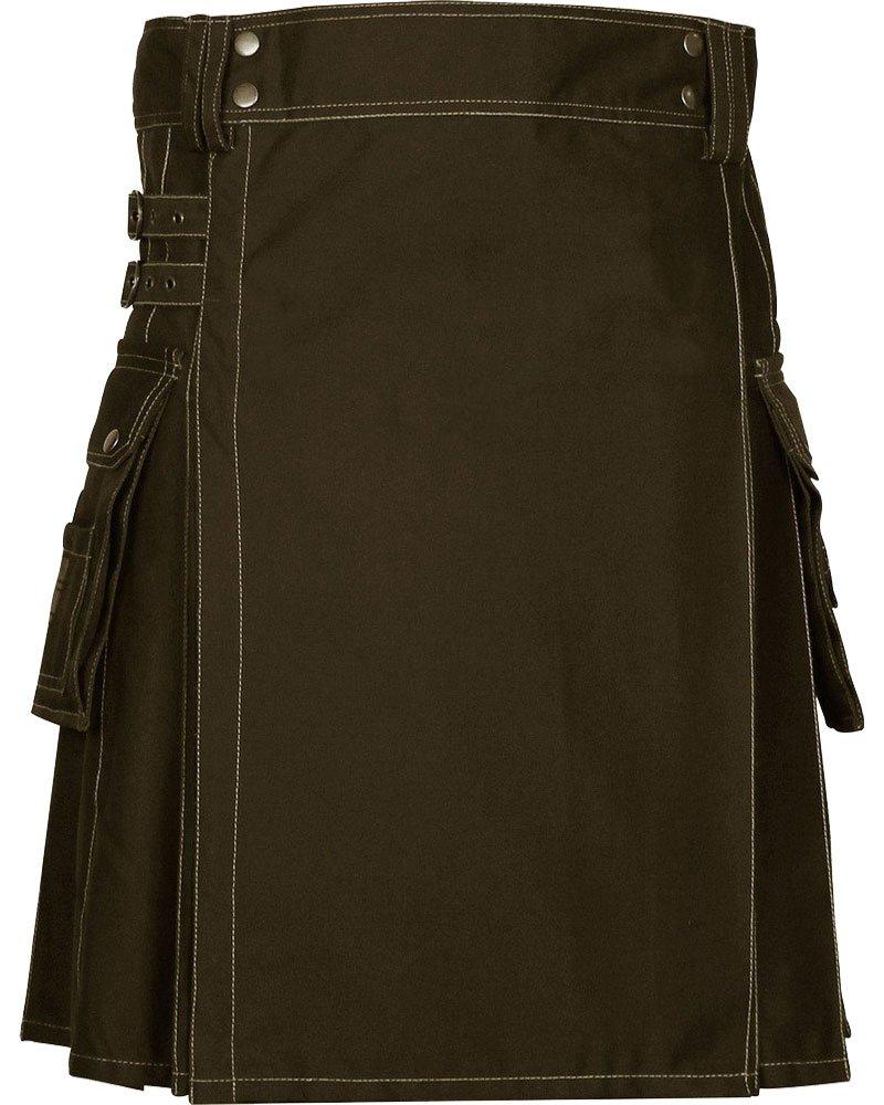 Active Men Brown Utility Cotton Kilt with Adjustable Straps for 34 Waist Size