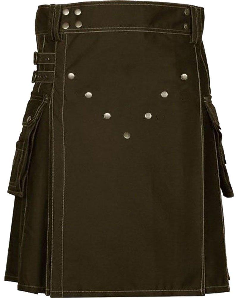 Active Men Adjustable 32 Waist Size Brown Utility Cotton Kilt with Front Brass Buttons