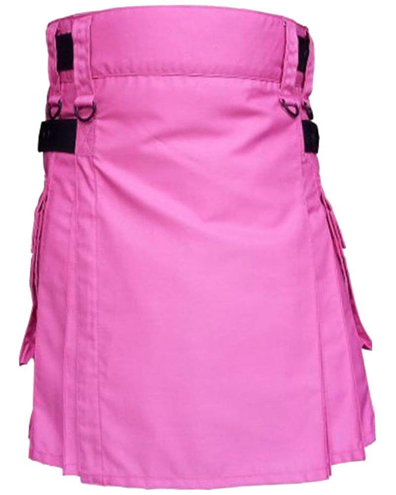 Active Men Adjustable 42 Waist Size Pink Utility Cotton Kilt Adjustable Leather Straps