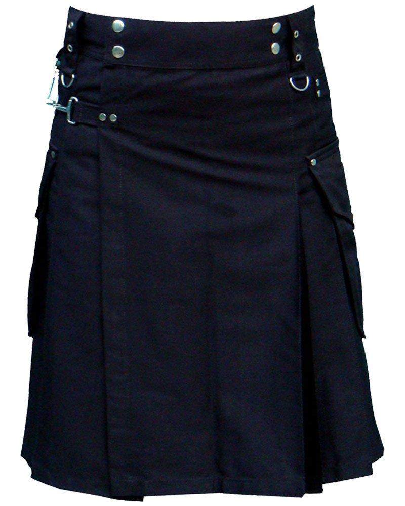 Active Men Adjustable 28 Waist Size Black Utility Cotton Kilt with Cargo Pockets